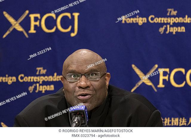 American pro fighter and actor Bob Sapp speaks during a news conference at The Foreign Correspondents' Club of Japan on June 07, 2019, Tokyo, Japan
