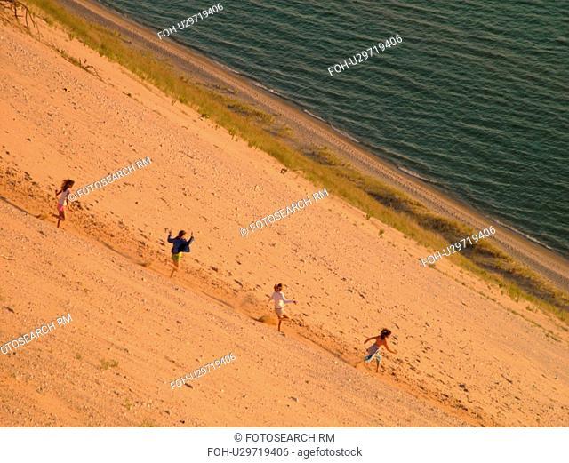 Sleeping Bear Sand Dunes National Lakeshore, MI, Michigan, Lake Michigan, from overlook, Pierce Stocking Scenic Drive, dunes, people climbing the dune