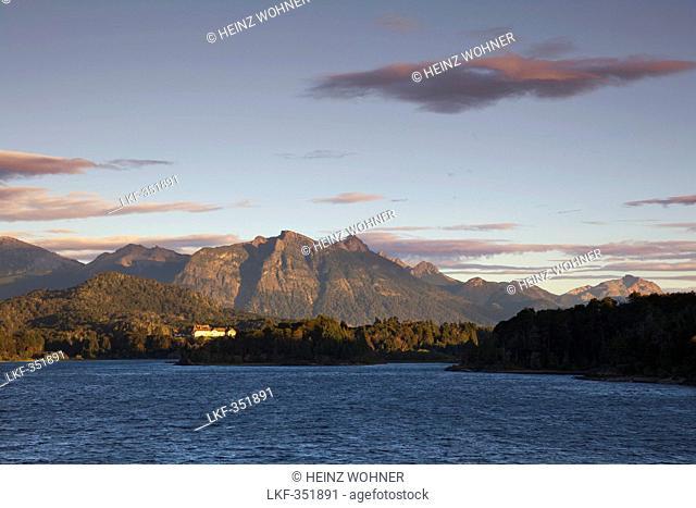 Morning light at Lago Moreno, view to the Llao Llao Hotel, Nahuel Huapi National park, near San Carlos de Bariloche, Rio Negro, Patagonia, Argentina