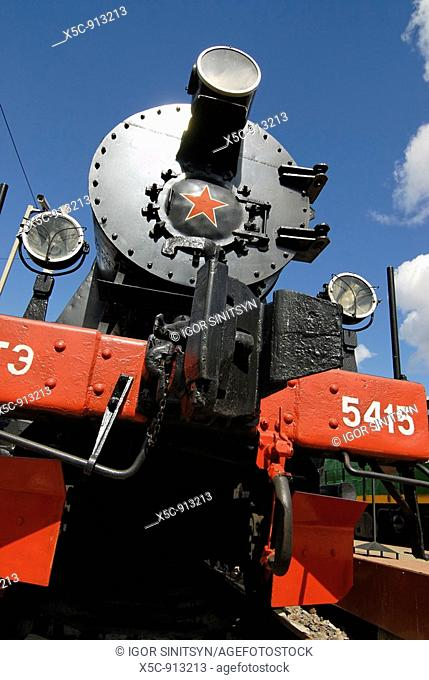 Front view of German Second World War steam locomotive TE-5415 of 52 serie  Built in 1943