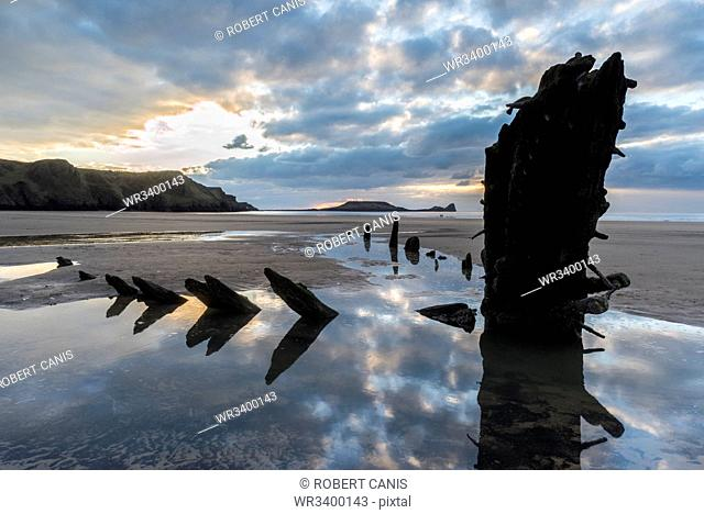 Wreck of the Helvetia, Rhossilli Bay, Gower, South Wales, United Kingdom, Europe