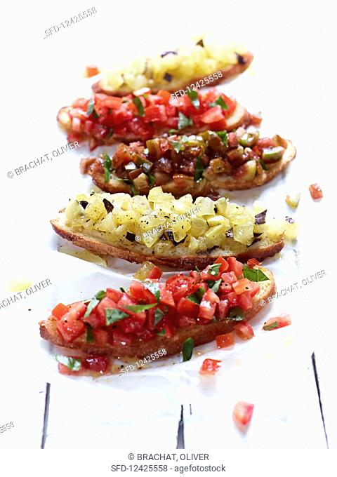 Bruschetta with red and yellow tomatoes