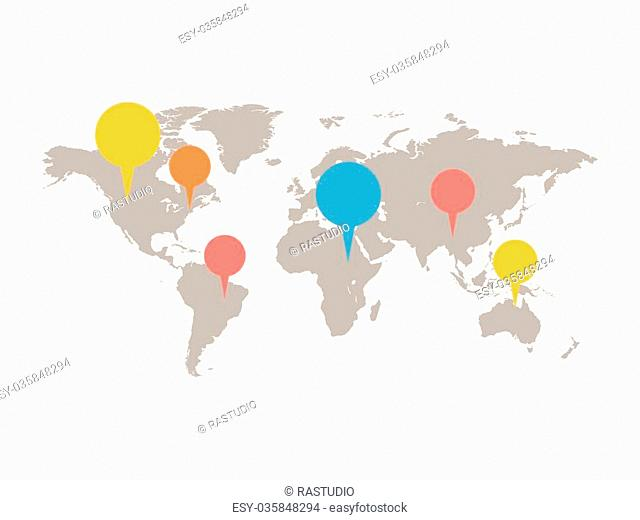 A world map with infographic elements. Grey color of map with white background. Square layout