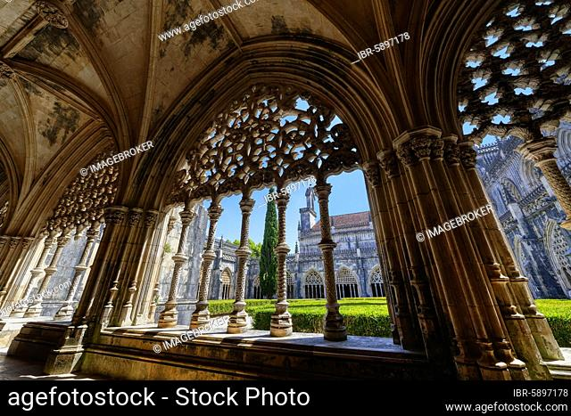 King Joao I Cloister, Arcade Screens, Dominican Monastery of Batalha or Saint Mary of the Victory Monastery, Batalha, Leiria district, Portugal, Europe