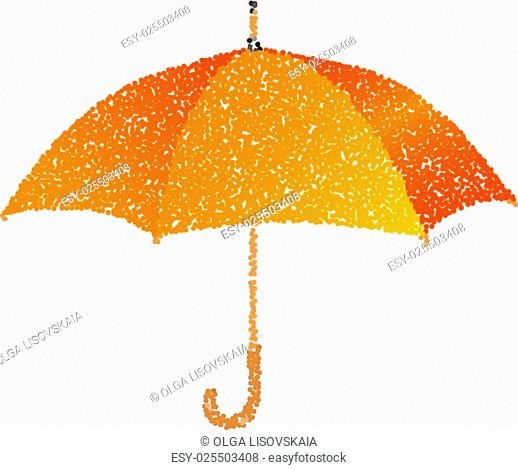 Dotted orange umbrella. Engraving illustration