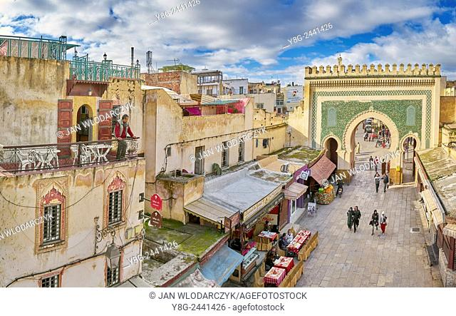 Fez, Bab Bou Jeloud seen from the terrace, Medina. Morocco