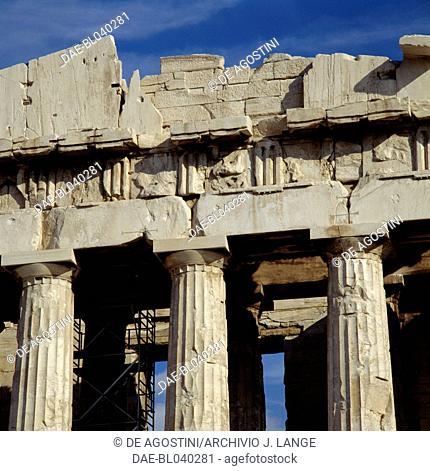The west pediment of the Parthenon, Acropolis of Athens (UNESCO World Heritage List, 1987), Greece. Greek civilisation, 5th century BC. Detail