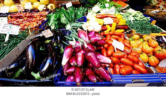 Variety of vegetables in market