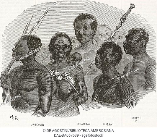 Slave belonging to different African tribes, slave trade, illustration from the magazine L'Illustration, Journal Universel, vol 14, no 348, October 27, 1849
