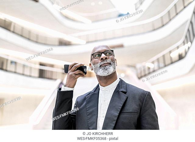 Portrait of mature businessman using smartphone