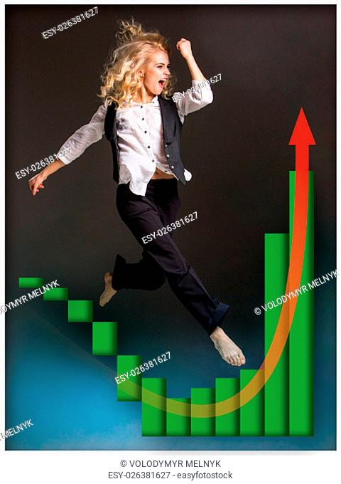 Businesswoman runing up a stairway and growing sales chart on black background
