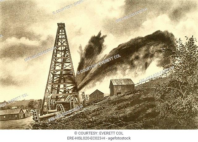 Oil well with a side flowing gusher in the oil region of Pennsylvania, ca. 1880