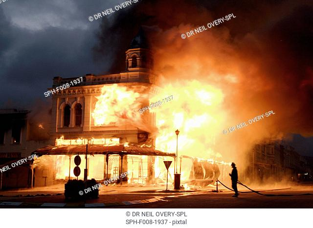 Historic building engulfed in flames. Photographed in Grahamstown, Eastern Cape, South Africa