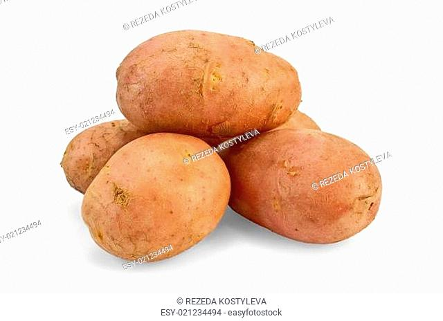 A small pile of potatoes pink isolated on white background
