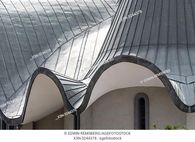Detail view of wavy roof of Sabor Sviatoj Trojcy, Russian Orthodox church, Poland,