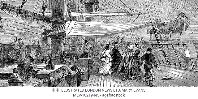 Engraving showing the well-dressed female passengers, in bustles and shawls, of the emigrant ship 'Indus', 1872.   This image shows the women taking exercise on...