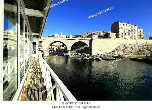 France, Bouches du Rhone, Marseille, the Vallon des Auffes the restaurant Nets
