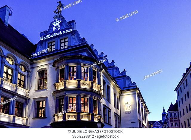 View of Hofbrauhaus Beer Hall at Night, Munich, Germany
