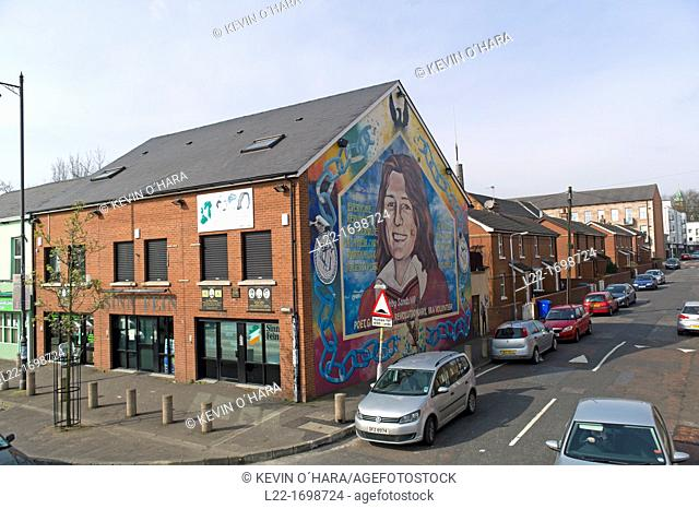 A mural dedicated to republican hunger striker Bobby Sands  Murals depicting the region's past and present political and religious divisions  Belfast city...