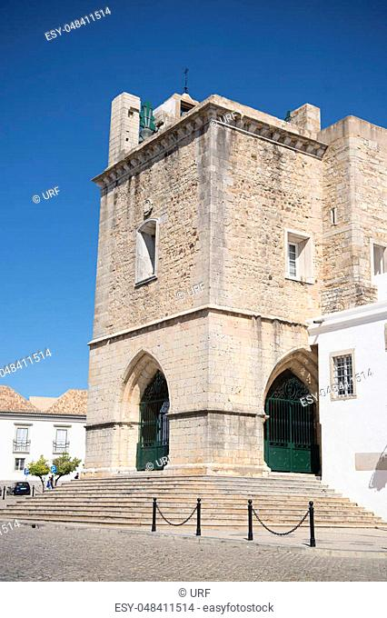 the clock tower of the Cathedral in the old town of Faro at the east Algarve in the south of Portugal in Europe