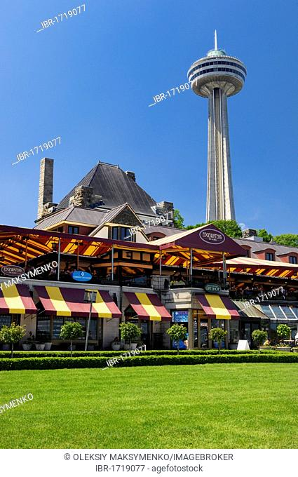 City view on Skylon Tower and Edgewaters restaurant, Niagara Falls, Ontario, Canada