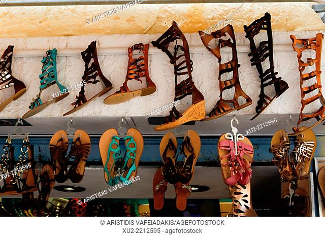 Greek sandals in old district Plaka in Athens, Greece