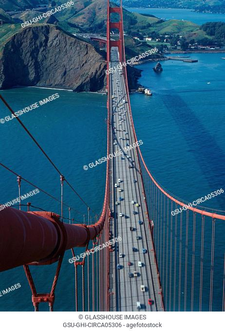High Angle View of Golden Gate Bridge Spanning Mouth of San Francisco Bay, San Francisco, California, USA, 1960's