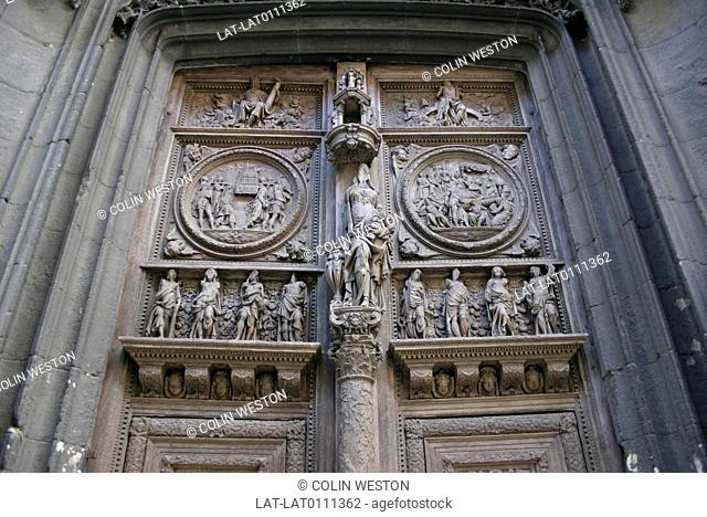 Haute Normandie. Seine Maritime. Place Barthelemy. St Maclou's Church. Door. Carvings