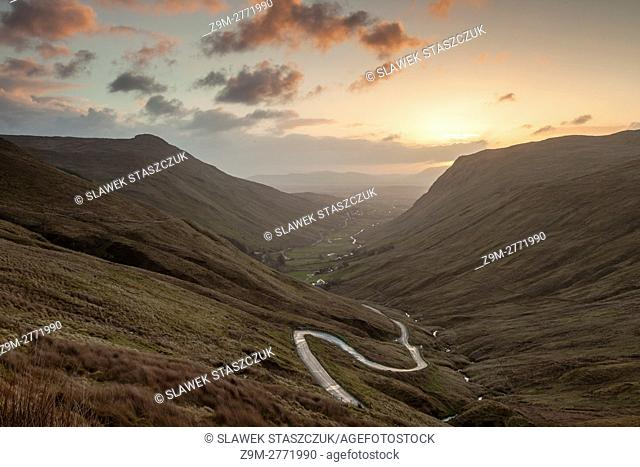 Sunrise at Glengess Pass in county Donegal, Ireland