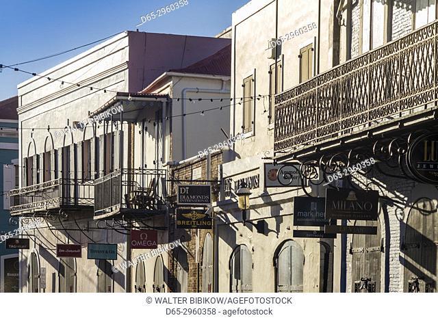 U. S. Virgin Islands, St. Thomas, Charlotte Amalie, Dronningens Gade Street, buiildings on main shopping street