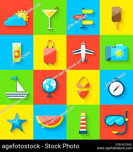 Illustration flat modern design set icons of travel on holiday journey, tourism objects and equipment, long shadow style - vector