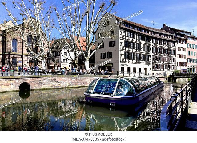 Boat at the Benjamin Zix square in Strasbourg, France