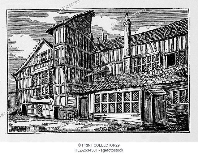 Whittington's House in Swithin's Passage, Moor Lane, City of London, 1823 (1906). Artist: Unknown