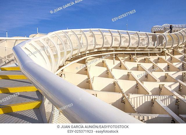 Roof footbridge for pedestrians at Metropol Parasol. It provides a unique view of the old city center and the cathedral