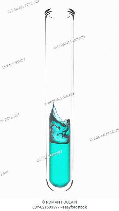 test tube with wavy turquoise liquid