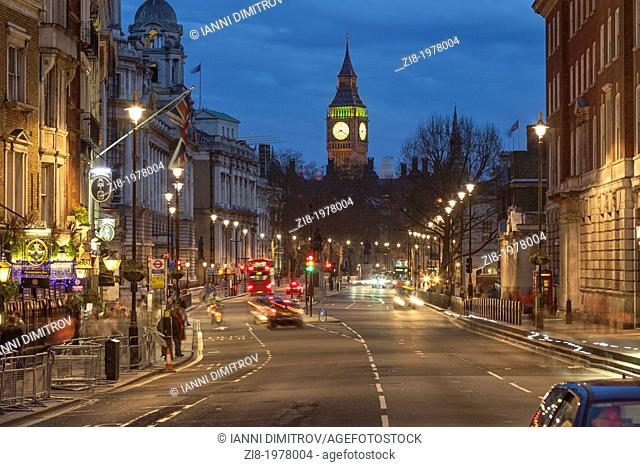 Traffic on Whitehall with Big Ben at night,London,England