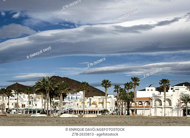 A white houses view in the beach of Carboneras village, Almeria province, Spain