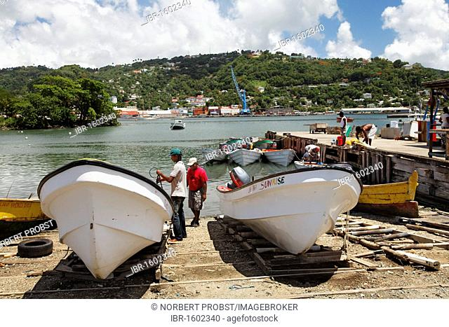 Fishing port with fishing boats and fishermen, Castries, the capital city, Saint Lucia, LCA, Windward Islands, Lesser Antilles, Caribbean, Caribbean Sea
