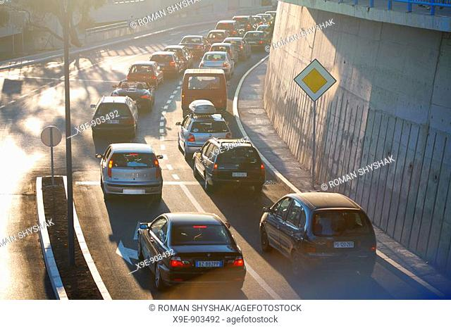 A major traffic jam on a highway