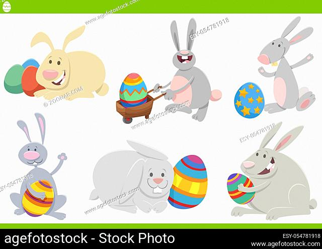 Cartoon Illustration of Funny Easter Bunnies Characters Set on Spring Easter Holiday Time with Colored Eggs