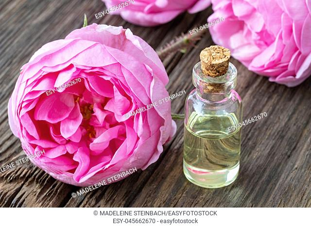 A bottle of essential oil with fresh roses on a wooden background