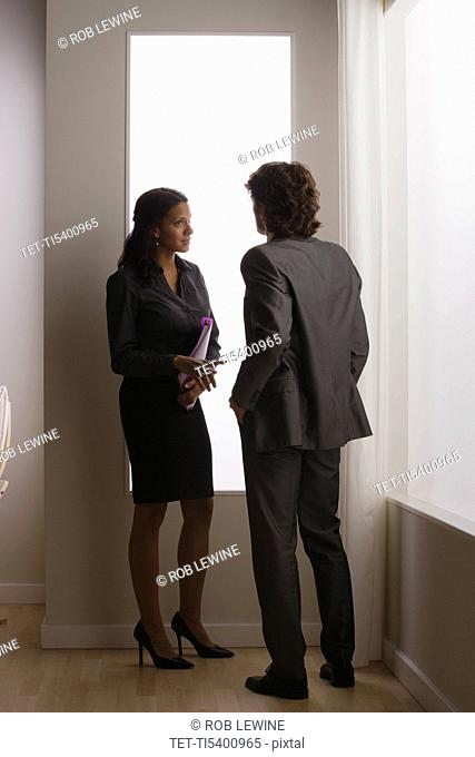 Two business people discussing in office