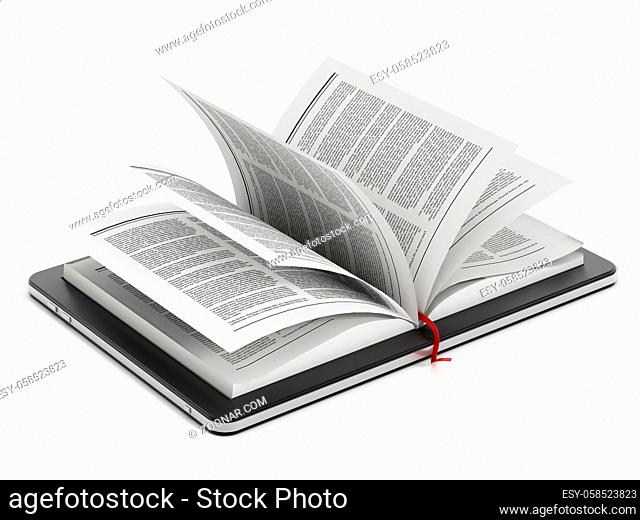 Book pages in tablet computer