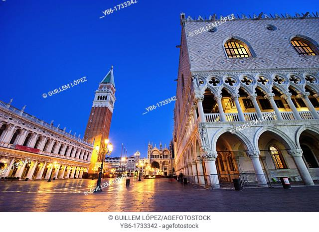 Dawn at San Mark's Square, Venice, Veneto, Italy