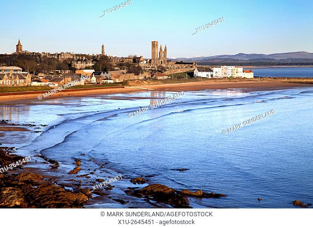 East Sands and St Andrews from the Fife Coast Path Fife Scotland