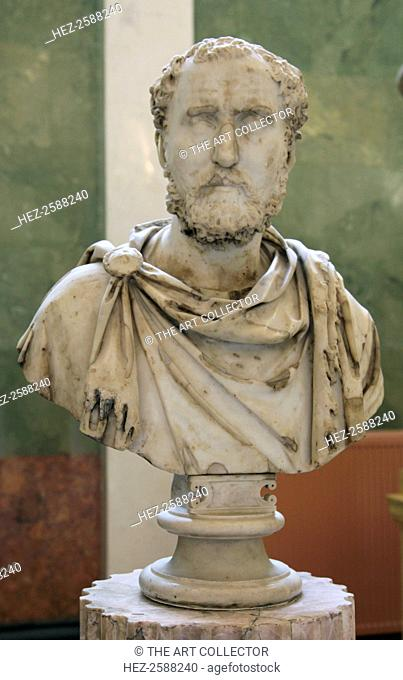 Portrait bust of a Roman Commander General, early 3rd century AD. Found in the collection of The Hermitage, St Petersburg