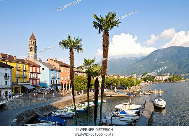 Switzerland, Ticino, View of harbour