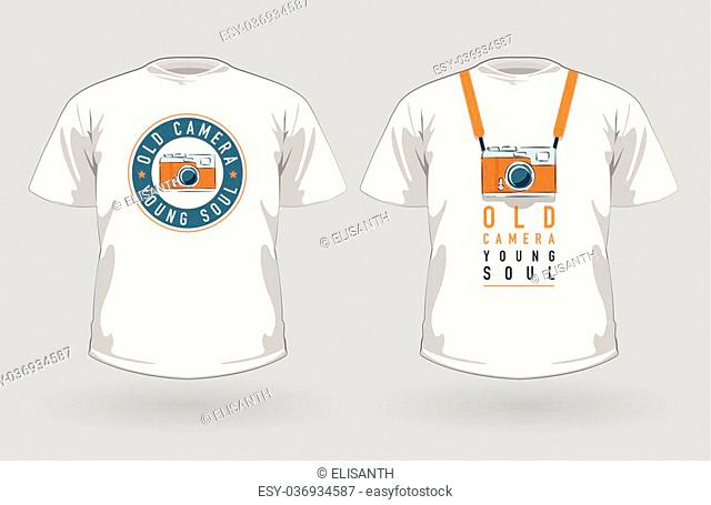 Vector set of t-shirts with vintage photo camera designs