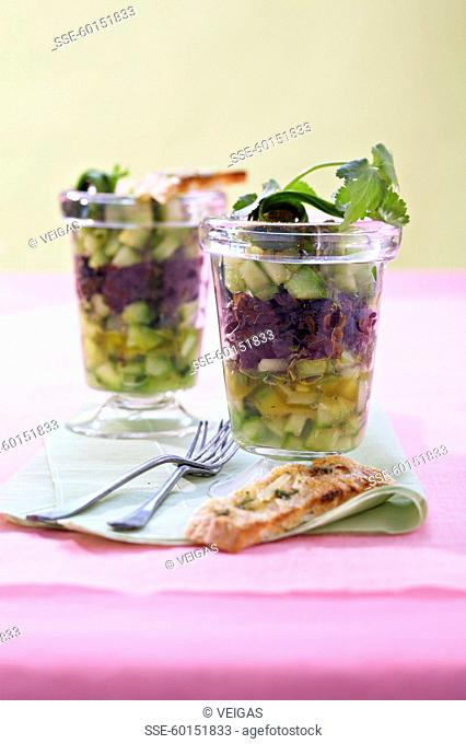 Cucumber tartare with thinly chopped olives