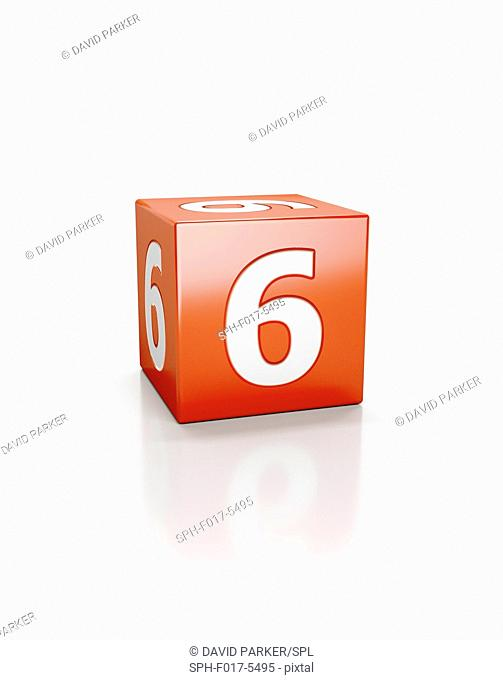 Red cube with the number six